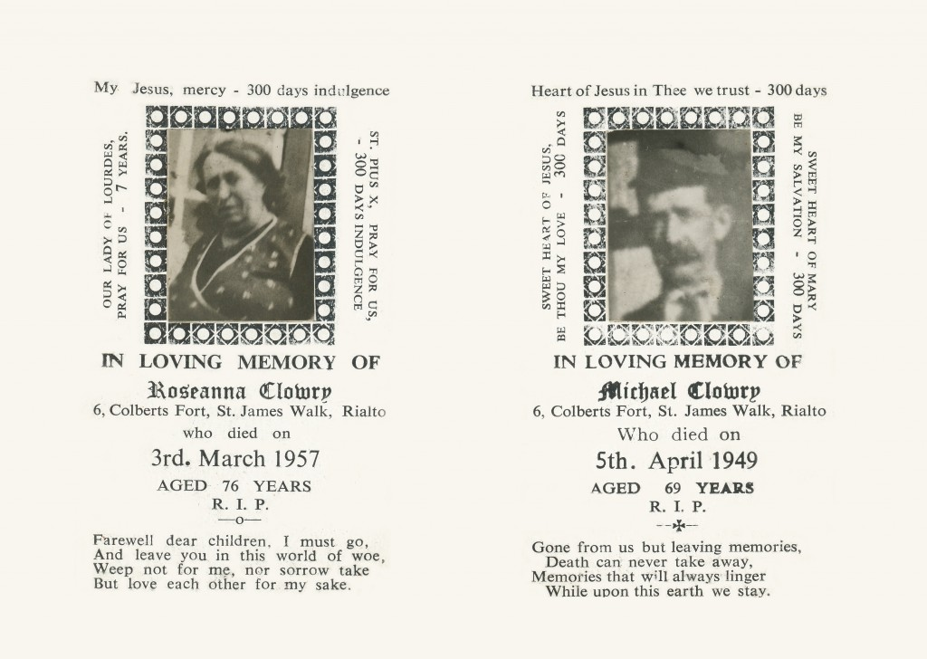 Memorial Card of Rosanna & Michael Clowry [Front Cover]