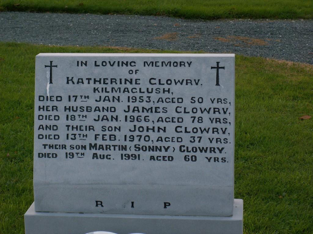 Katherine Clowry Gravestone